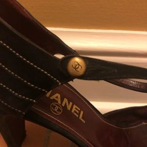 """Authentic Chanel 4"""" Suede heels with Ankle strap"""